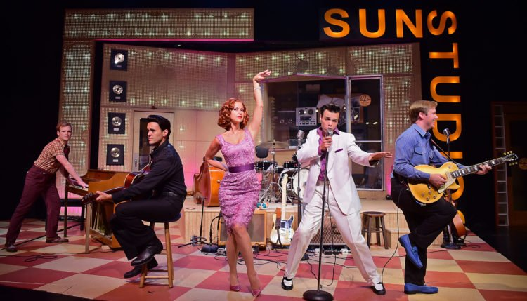 From left, Jerry Lee Lewis (Brian Michael Henry), Johnny Cash (Justin Figueroa), Dyanne (Jill Kelly Howe), Elvis Presley (Edward La Cardo), and Carl Perkins (Christopher Wren) perform in Beef & Boards Dinner Theatre's production of Million Dollar Quartet, now on stage through Aug. 26. The electrifying musical relives the night of Dec. 4, 1956, when Elvis Presley, Jerry Lee Lewis, Carl Perkins, and Johnny Cash performed together at Sun Studios for the one and only time. Tickets range from $44 to $69, and include a Southern-inspired dinner buffet, coffee, tea, and lemonade. For reservations, call the box office at 317.872.9664. For more info